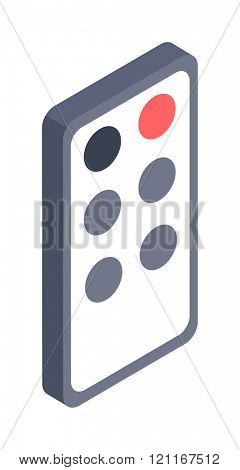 Remote controller illustration isometric icon. Flat design style modern remote controller . Remote controller isolated. Elements tv equipment isometric design. Digital remote controller.
