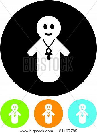 Baby with pacifier - vector icon isolated on white.