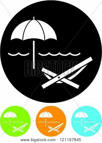 Beach Umbrella and Lounger - Vector icon isolated