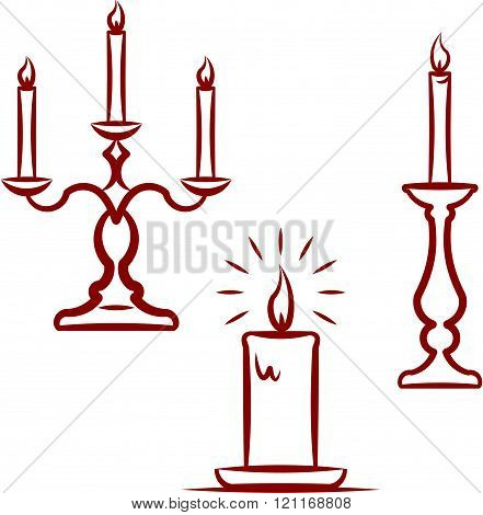 Candles and candlesticks. Vector illustration isolated on white.