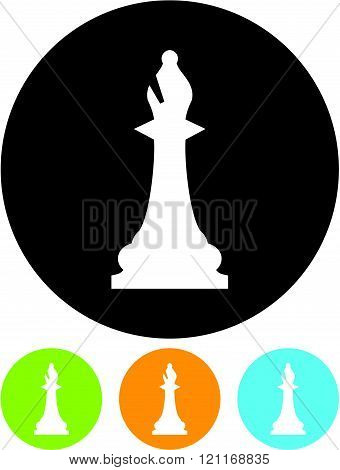 Chess Bishop - Vector icon isolated on white