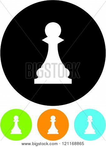Chess Pawn - Vector icon isolated on white