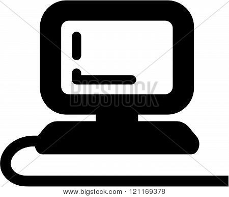 Computer connected with cable - Vector icon isolated