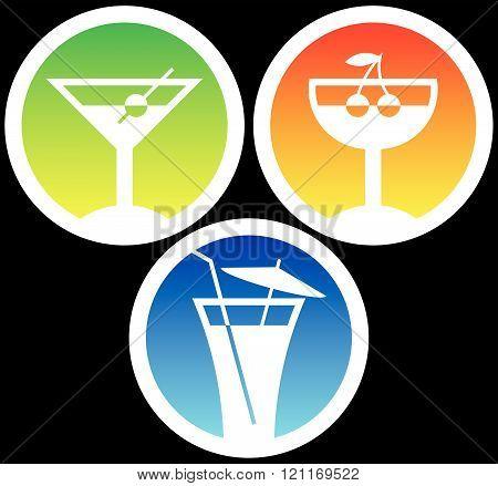 Cocktail glasses with beverages. Martini, liqueur, tequila sunrise