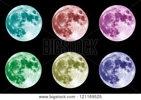 Colorful Full Moon On Black Compilation