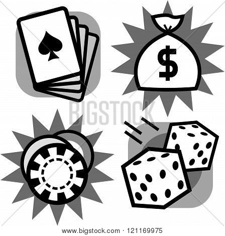 Gambling casino games play cards, roulette chip, dice, jackpot money