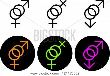 Sexuality gender symbols - Vector icons isolated