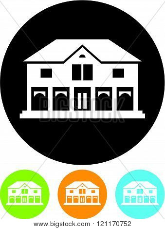 Mansion or shop building - Vector icon isolated.
