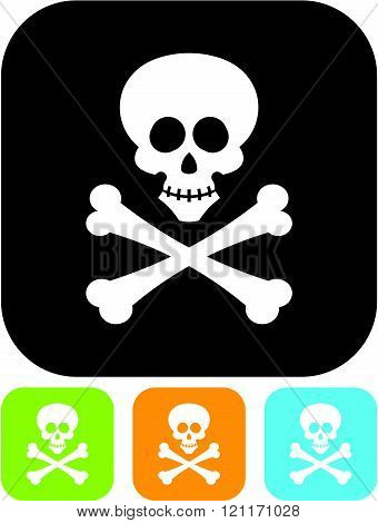 Jolly Roger. Skull and bones pirate emblem - Vector icon isolated
