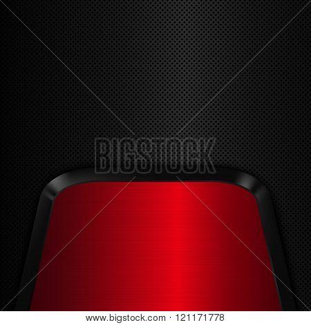 Red Metal Plate Black Metal Background. Vector Illustration