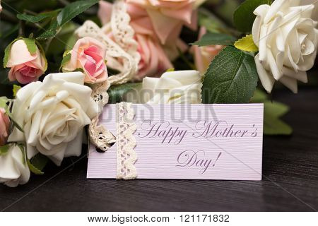Mothers day lilac card with rustic roses on wooden board