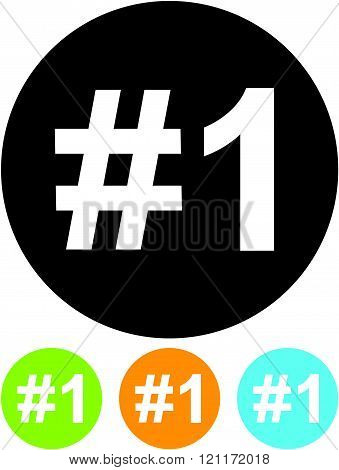 Number one - Vector icon isolated on white.