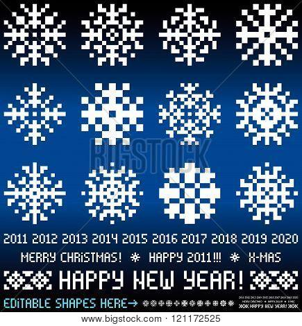 Pixel_snowflakes