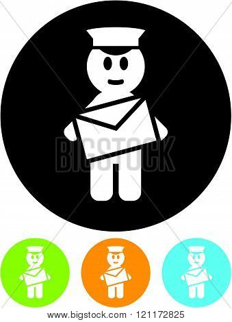 Cartoon postman with envelope letter - Vector icon