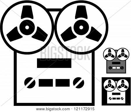 Tape reel recorder - vector icon isolated.