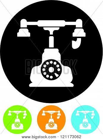 Retro telephone icon isolated