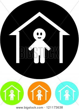 Person under the roof. Man at Home - Vector icon.