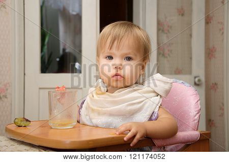 Blonde Little Girl Eating