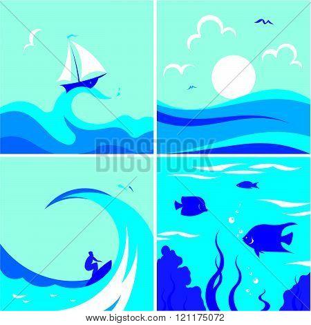 Marine motives - Vector illustrations