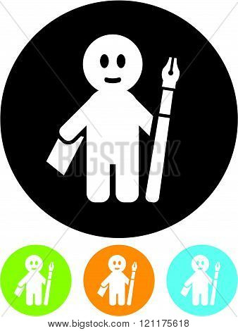 Man with pen and paper - Vector icon