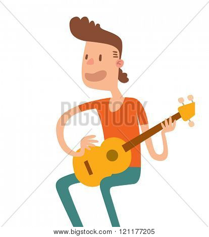 Acoustic guitar boy sitting and play flat illustration. Acoustic guitar boy cartoon character with guitar on white background. Acoustic guitar boy guitarist. Acoustic guitar boy cartoon style.
