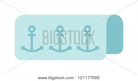 Beach towel vector summer bath accessory. Towel isolated on white background. Beach towel blue absorb shower accessory. Blue beach towel. Beach towel summer vacation accessory.