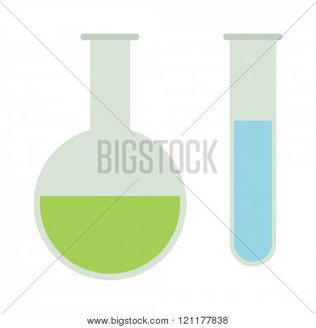 Chemical flasks equipment - test tube, empty isolated on white vector. Chemical flasks. Illustration of Laboratory Apparatuses. Vector cartoon chemistry laboratory object chemical flasks in flat color