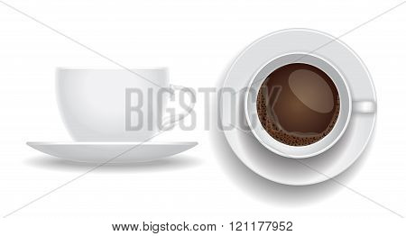 Coffee cup isolated.  Top and side view. espresso cappuccino