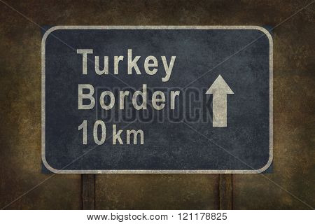 Turkey Border 10 Km Roadside Sign Illustration