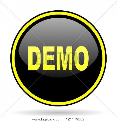 demo black and yellow modern glossy web icon