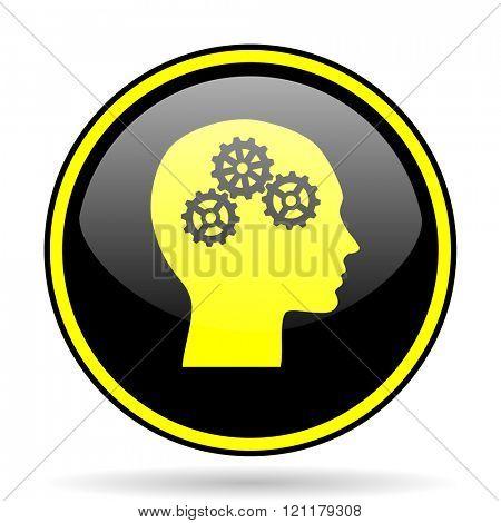 head black and yellow modern glossy web icon