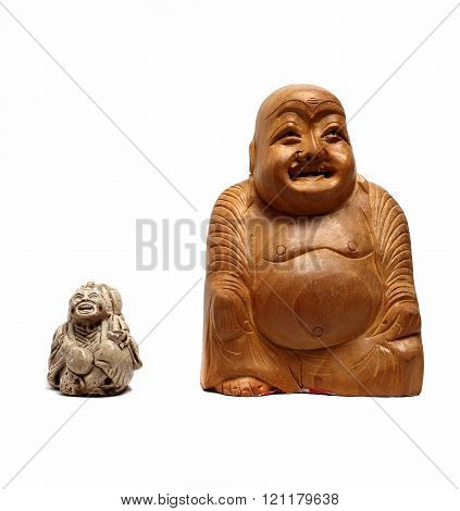 Wooden Buddha Statue On A White Background