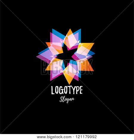 Abstract star. Logo star. Logo vector star. Isolated modern stylish logo. Colorful logo. Geometric l