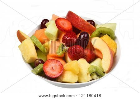A bowl of fresh cut fruit. Isolated on white fruits include, Strawberry, Pineapple, Apple, Cantaloupe, Honeydew Melon, Kiwi and Grapes.