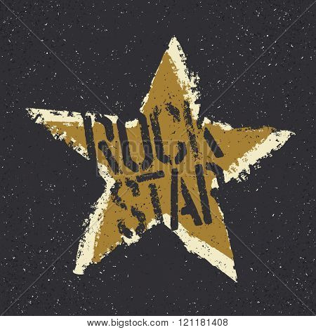 Rockstar. Grunge star with lettering. Tee print design template