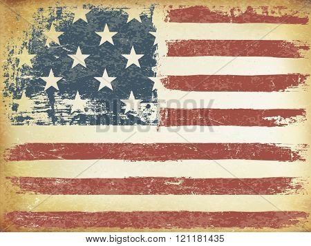 American Themed Flag Background. Grunge Aged Vector Template. Horizontal orientation.