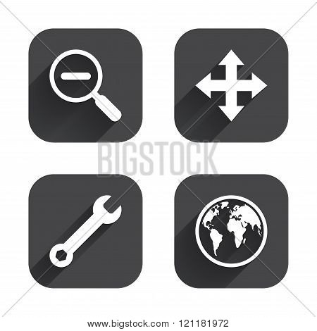 Magnifier glass and globe signs. Fullscreen.