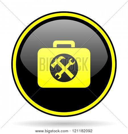 toolkit black and yellow modern glossy web icon