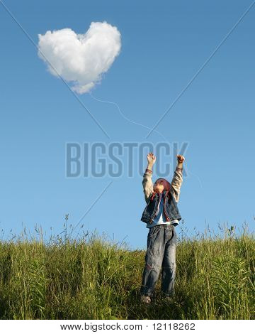 child who catches cloud