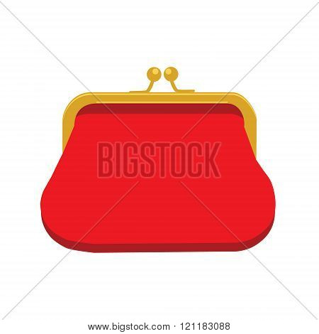 Vector illustration red retro purse for coins. Purse flat icon