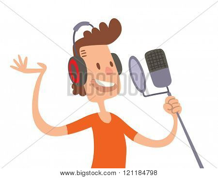 Singer cartoon boy flat illustration. Singer cartoon character with microphone isolated on white background. Singer and microphone. Singer boy cartoon style.