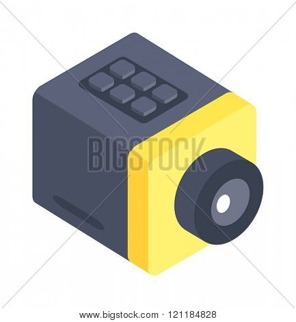Isometric web camera icon isolated on a white background. Isometric web camera. Webcam 3d isometric icon isolated. Desktop isometric web camera on a stand. Webcam icon, symbol in flat.
