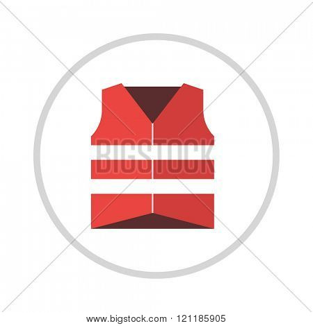 Life vest jacket flat icon vector icon illustration.