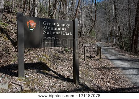 Entry Sign To Twenty Mile In The Great Smoky Mountains