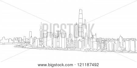 Shanghai Profile Panorama Outline Sketch