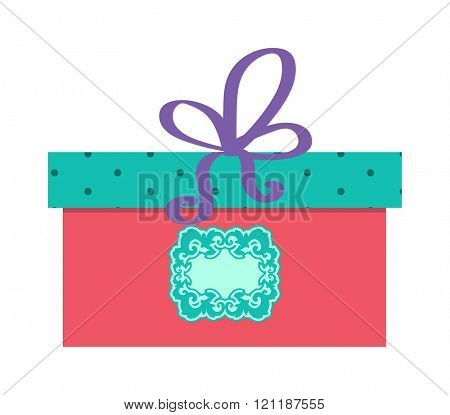Single red gift box with purple ribbon vector on white background. Gift box party decoration. Gift box surprise. Gift box package design. Gift box vector birthday decoration.