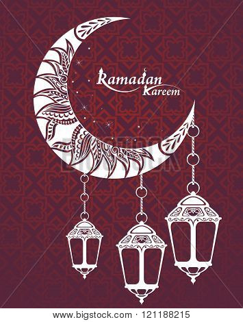 Arabic Ramadan Kareem. Ramadan greeting card with moon