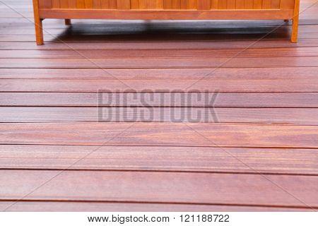 Wooden bench on oiled bangkirai Terrace