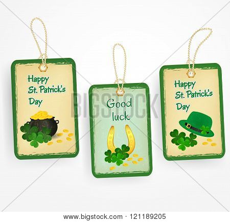 Happy St. Patrick Day stickers with Patrick's  day symbols - green hat, lucky horseshoe, clover leav
