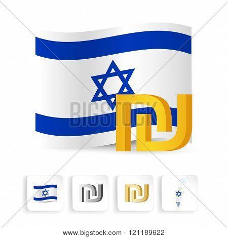 shekel sign symbol with  Israel flag. Vector illustration.